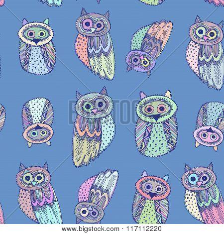 Decorative Hand dravn Cute Owl Sketch Doodle on blue background. Pastel colors. Vector