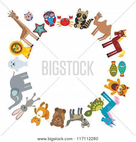 Set of funny cartoon animals character bear elephant fox giraffe horse lion camel rabbit wolf turtle