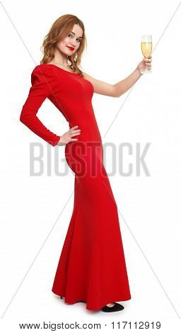 woman in red woman with champagne glass on white