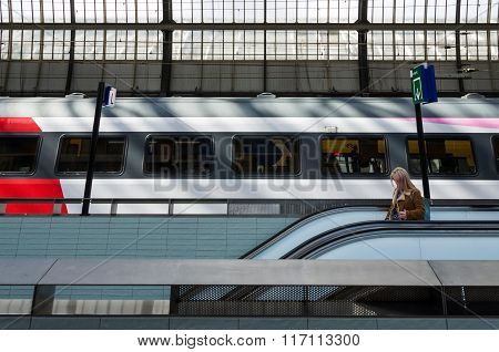 Amsterdam, Netherlands - May 7, 2015: Passenger At Amsterdam Amstel Central Station