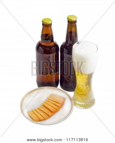 Glass And Two Bottles Of Beer, Cheese On Light Background