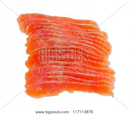 Sliced Fillet Of Salted Rainbow Trout Closeup