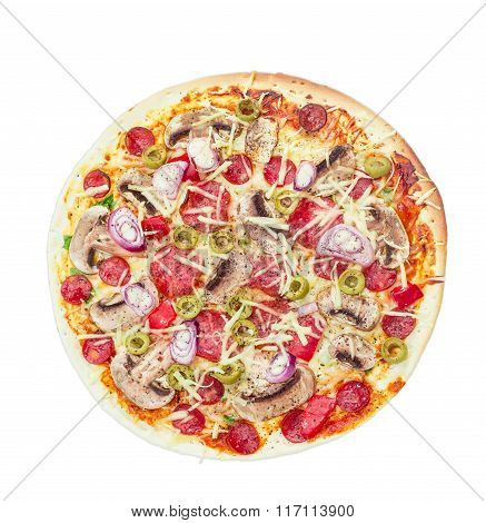 Pizza With Sausage, Mushrooms And Olives On A Light Background