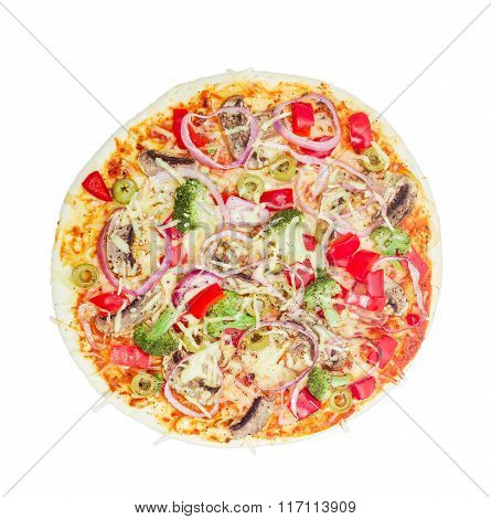 Vegetarian Pizza With Vegetables, Mushrooms And Olives