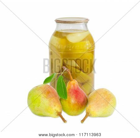 Fresh Pears Bartlett And Canned Pears In Glass Jar