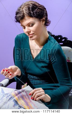 Girl with knitting work