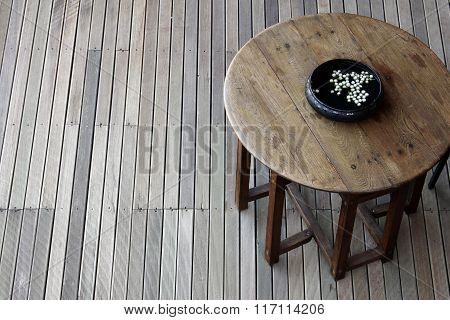 Wood Brown Table In Interior Idea