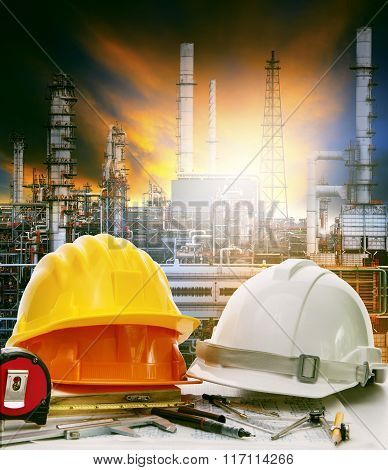 Working Table Of Engineer In Oil Refinery Industry Plant Use For Heavy Industry And Energy Manufactu