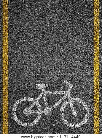 Bicycle sign on bicycle lane