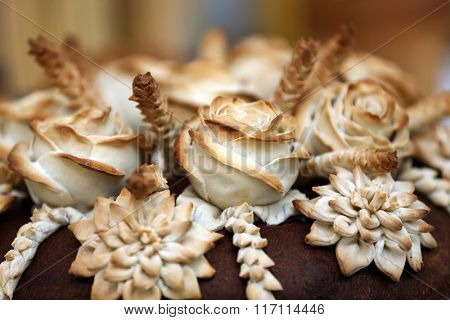 Traditional ukrainian wedding bread closeup. Shallow depth of field