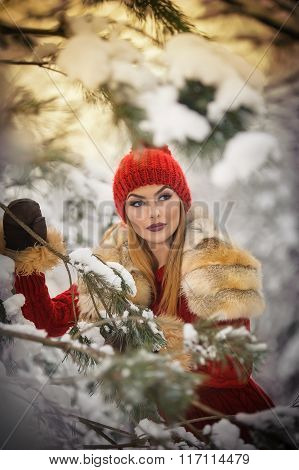 Beautiful woman in red with brown fur cape enjoying the winter scenery in forest. Blonde girl posing