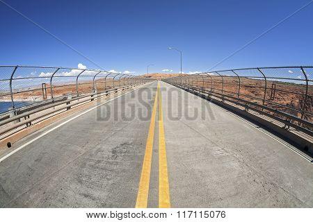 Fisheye Lens Photo Of A Lanes On A Bridge, Usa.