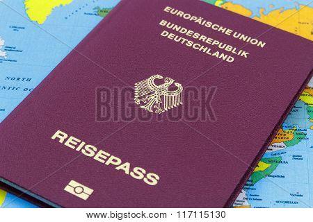A German Passport on a world map