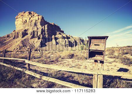 Vintage Stylized Mailbox On Deserted Land, Utah, Usa