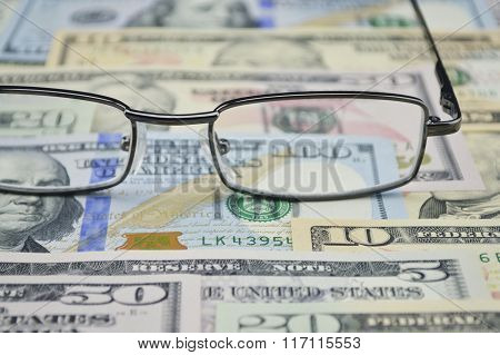 Glasses On Dollar Money, Financial And Business Concept