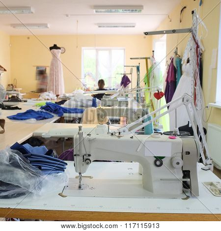 Interior of a garment factory shop