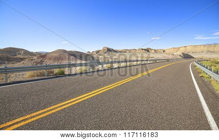 Picture Of Lanes On A Desert Road, Utah, Usa
