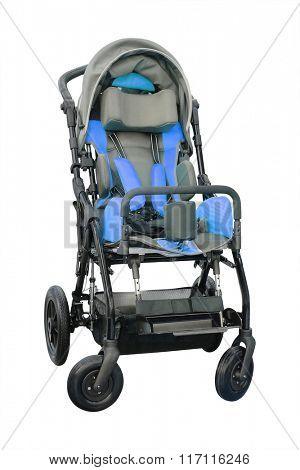 Children's wheelchair isolated under the white background
