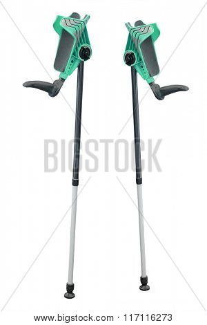 Crutches under the white background
