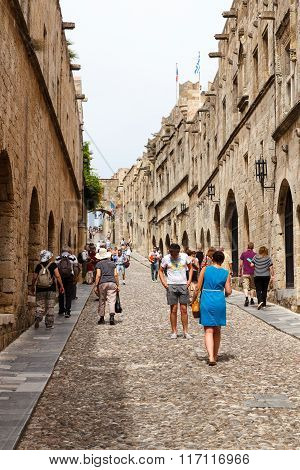 The Knights Street in Rhodes city Greece