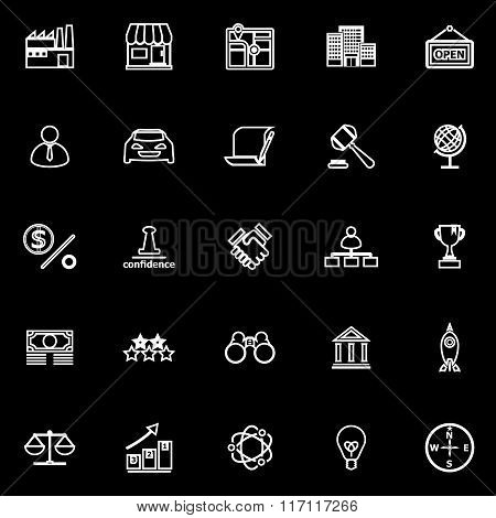 Franchise Line Icons On Black Background