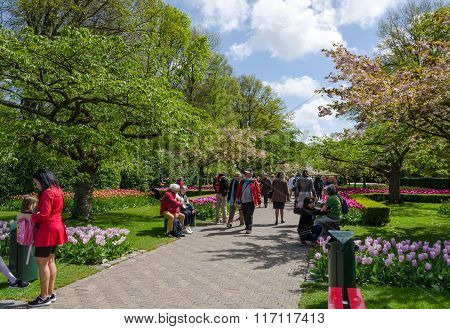 Lisse, The Netherlands - May 7, 2015: Tourists Visit Famous Garden In Keukenhof