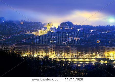Terreaux Place And Morning Haze, Lyon France