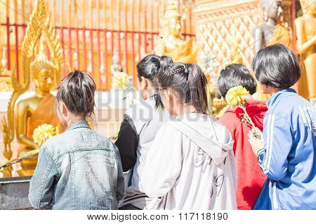 Buddhism Are Praying At Wat Phra That Doi Suthep At Chiang Mai - Thailand