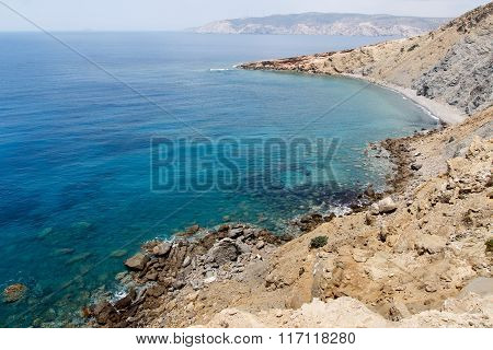 Southern coast and Mediterranean Sea in Rhodes Greece