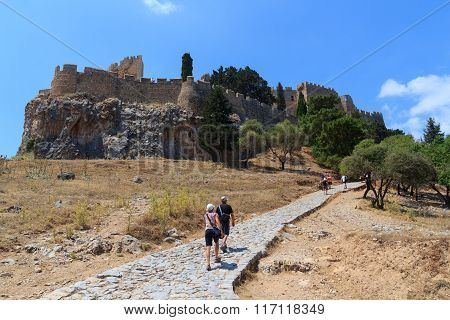 The acropolis of Lindos in Rhodes Greece