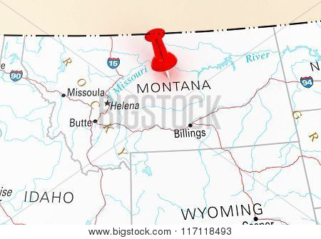 Red Thumbtack Over Montana State Usa Map