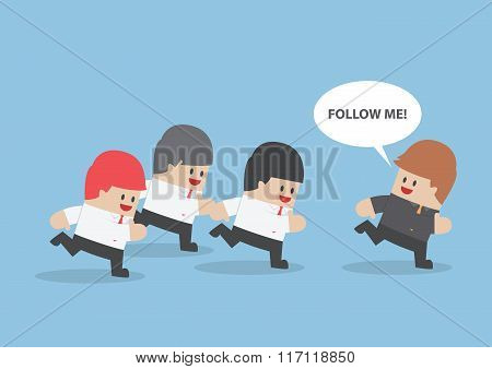 Businessman Run Following The Leader