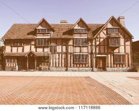 Shakespeare Birthplace In Stratford Upon Avon Vintage