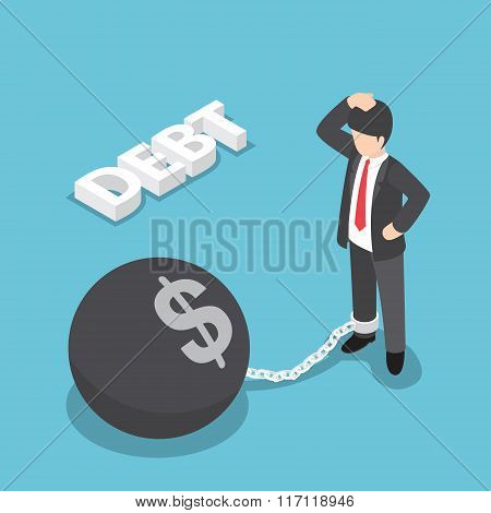 Isometric Businessman Chained With Large Metal Ball