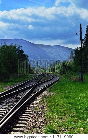 Railroad Tracks In The Carpathian Mountains