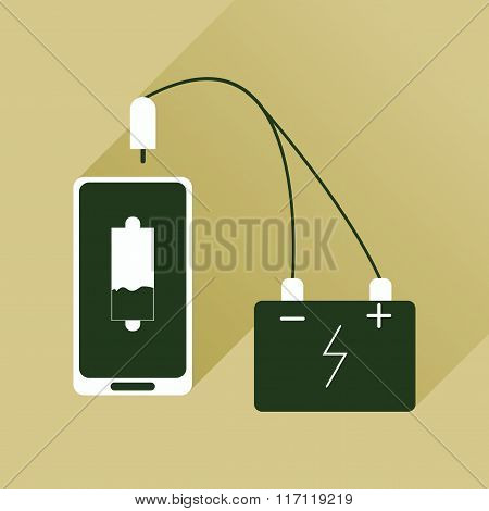 Flat web icon with long shadow mobile charging