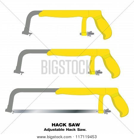 Saw. Hacksaw. Hand saw isolated on white background. Tool.