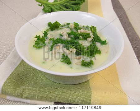 Kale soup with pearl barley