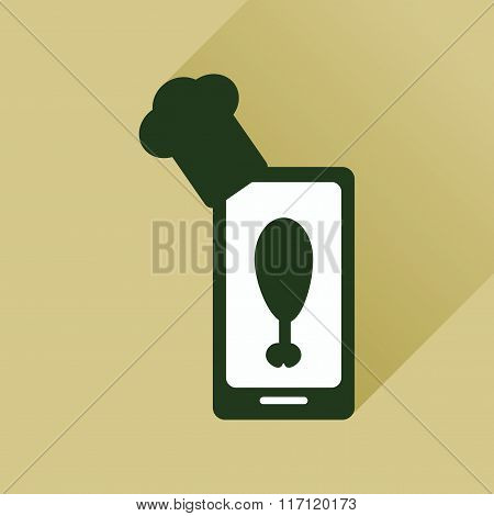 Flat web icon with long shadow mobile chef