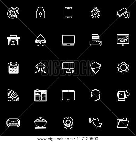 Internet Cafe Line Icons On Black Background