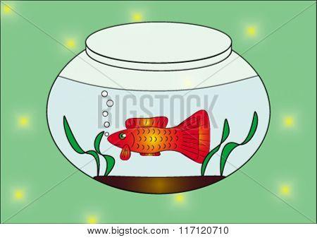 fish in the aquarium. vector illustration