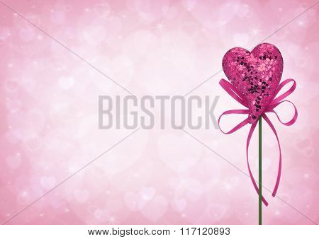 Pink Love Heart Toy With Bow On Light Pink Heart Blur Background