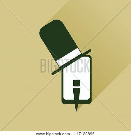 Flat web icon with long shadow mobile gentleman