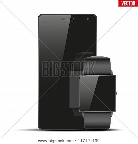 Smartwatch and touchscreen smartphone