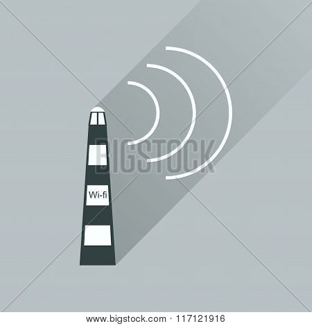 Flat icon with long shadow Wi fi tower