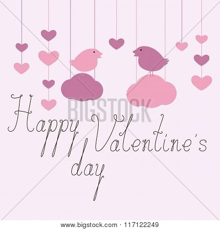 Happy Valentine's Day Greeting Card With Birds On Clouds