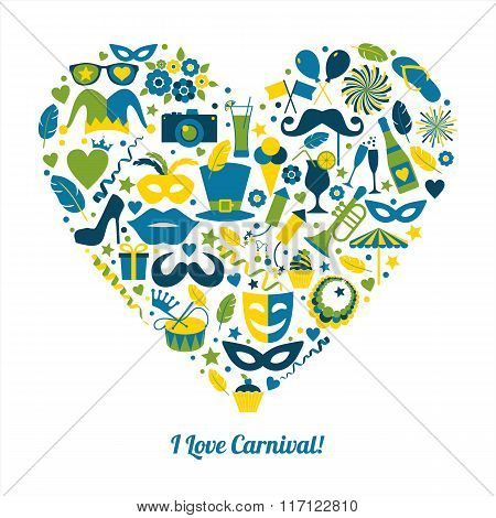 Carnival Vector Illustration In Heart.