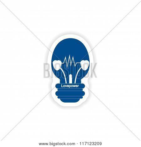 paper sticker on white background  lightbulb love power
