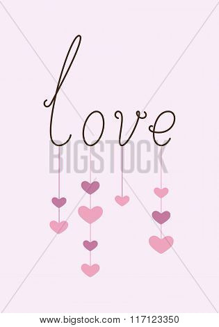 Calligraphic Lettering Love With Hanging Hearts