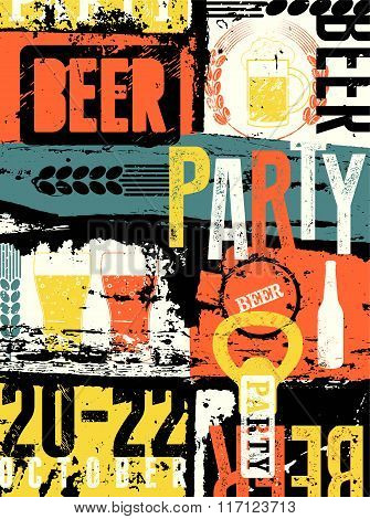 Beer Party typographical vintage style grunge poster. Retro vector illustration.